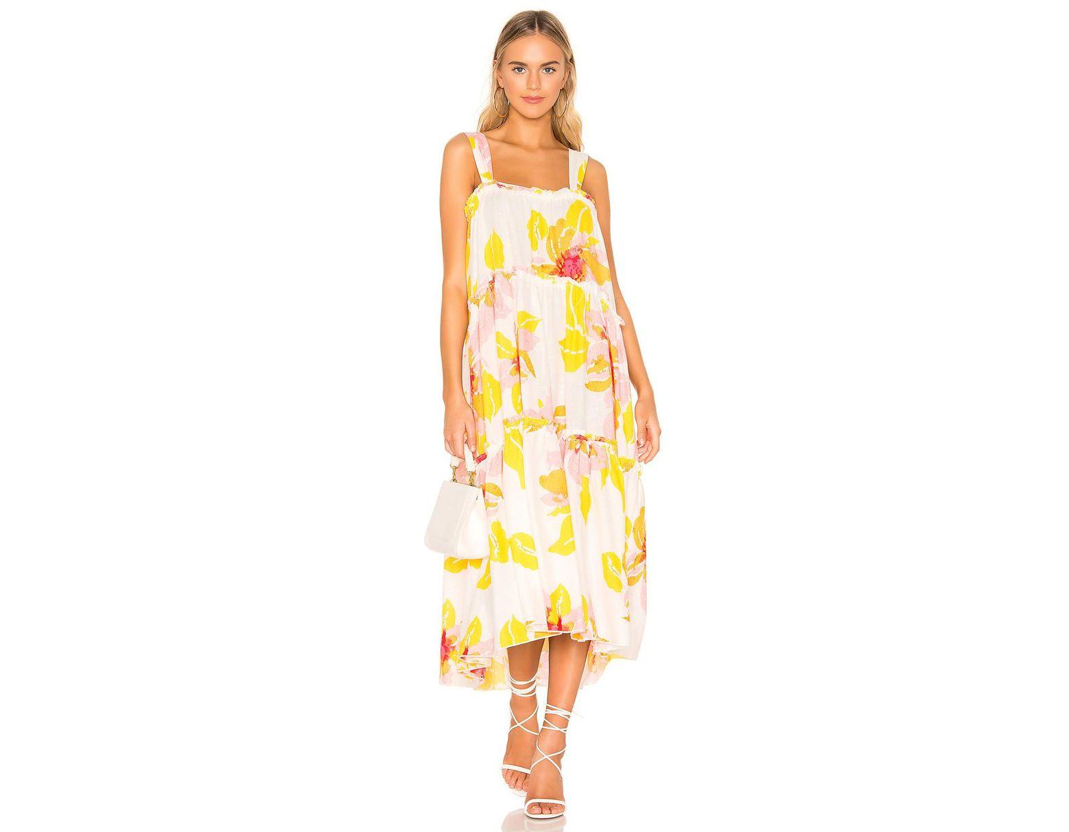 75029cbbefa1 Free People Moonshine Midi Dress in Yellow - Lyst