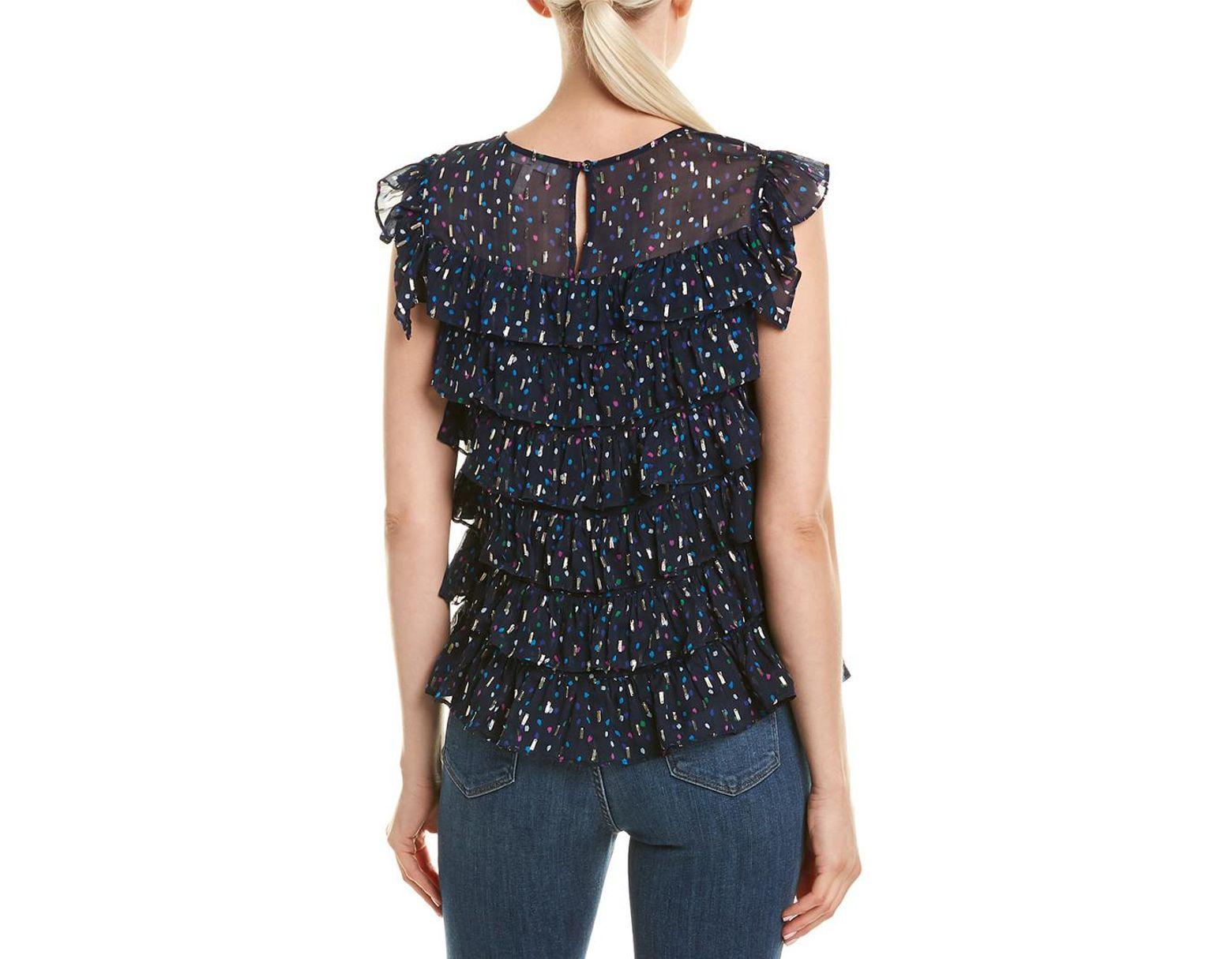 9e1e81d4e864 Rebecca Taylor Dot Ruffle Silk-blend Top in Blue - Save 80% - Lyst