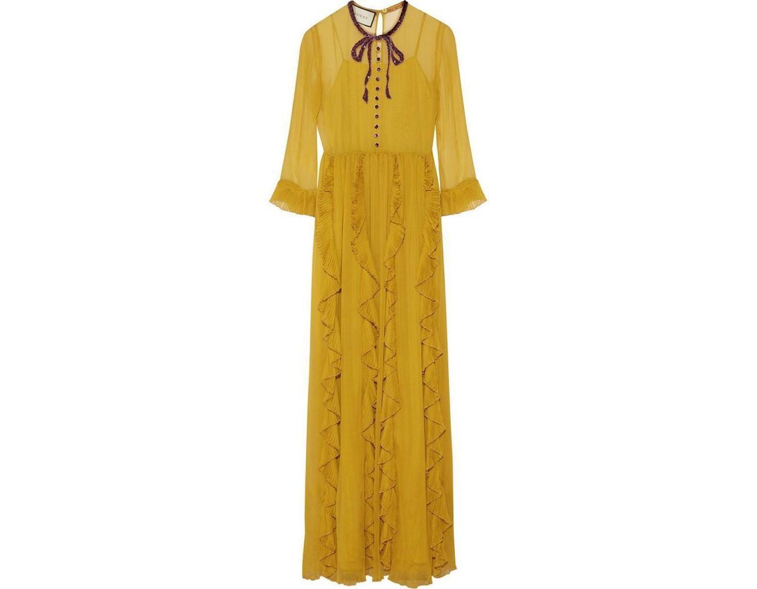 5445c0d8566 Gucci Yellow Silk Chiffon Embroidered Gown in Yellow - Lyst