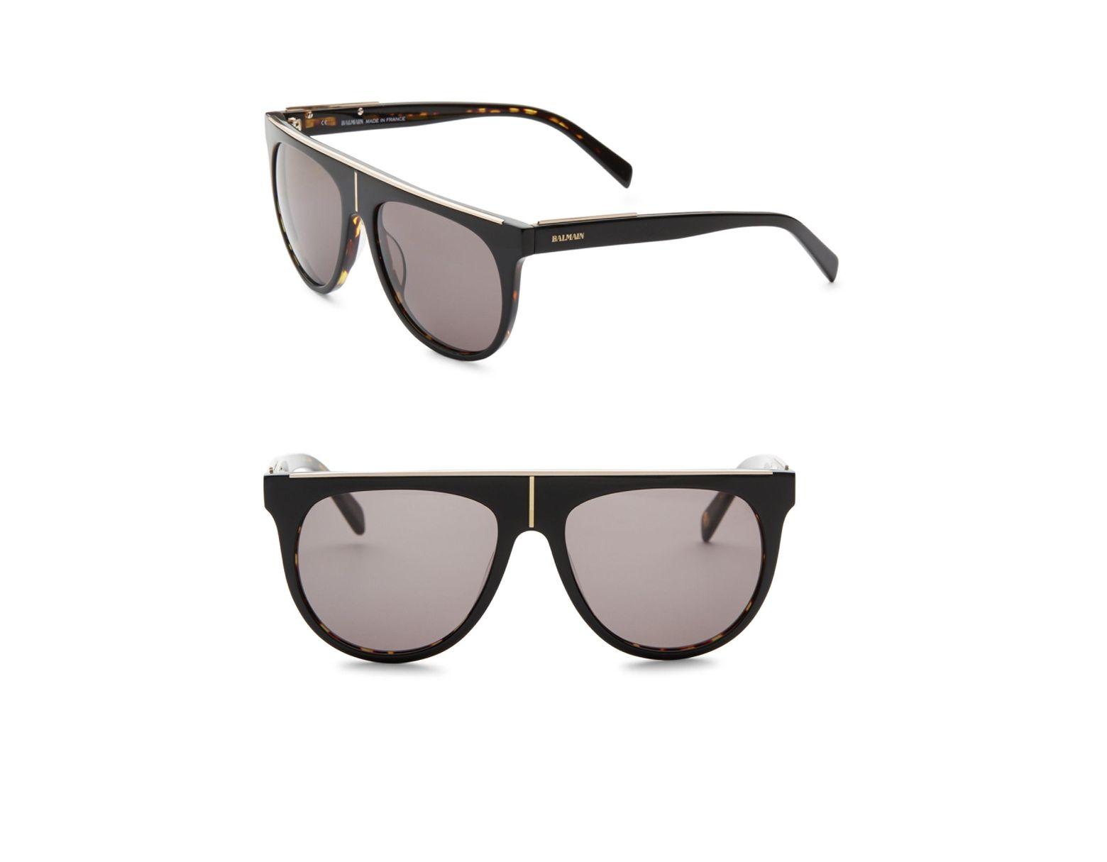 6b28b261ec31 Balmain Men's Flat Top 55mm Aviator Sunglasses - Black in Black for Men -  Lyst