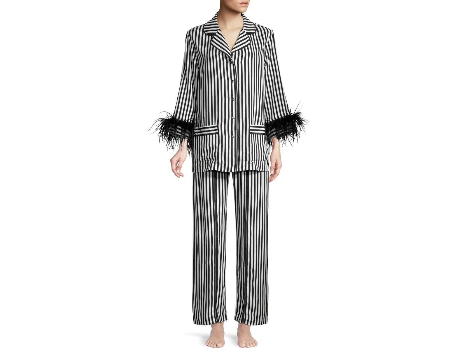 252e1a7bc5081 Sleeper Women's Striped Feather-trim Pajama Pants - Black White in Black -  Save 30% - Lyst