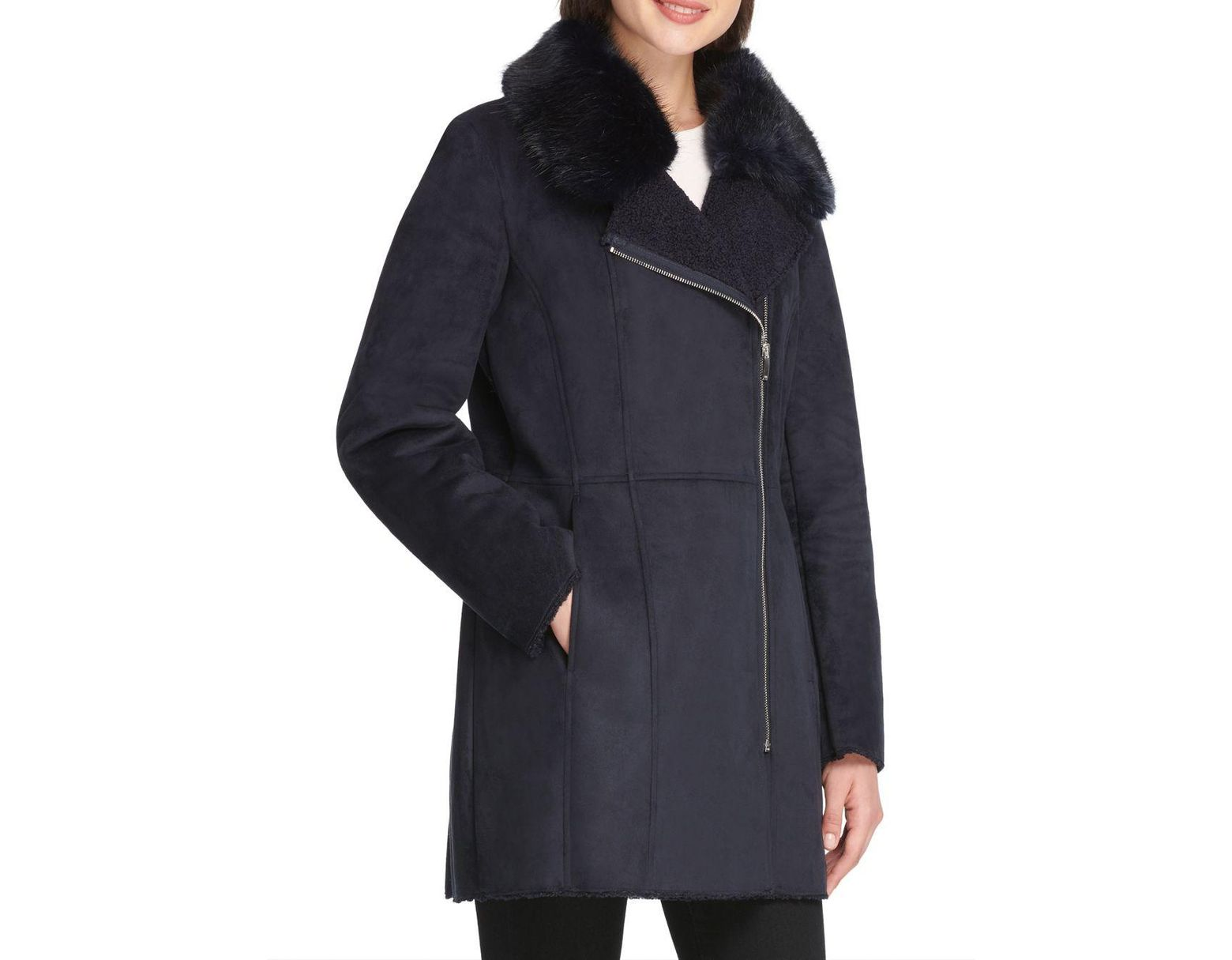 1aa6f29c1427b DKNY Faux Fur-accented Faux Suede Coat in Blue - Lyst