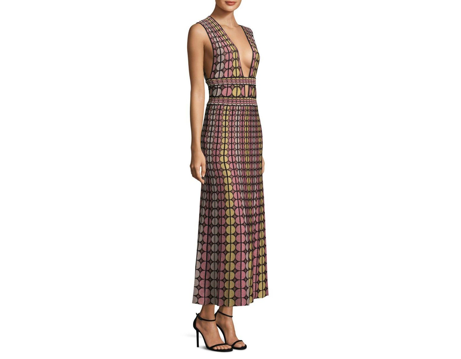 afddf5a38 M Missoni Knitted Round Deep V-neck Maxi Dress in Black - Save 24% - Lyst