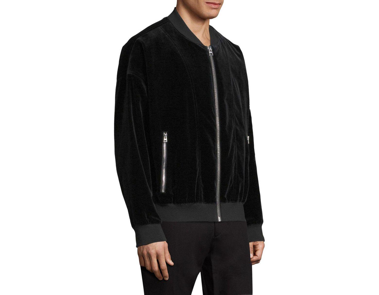 73d6dce60 BOSS Bitrel Velvet Bomber Jacket in Black for Men - Lyst