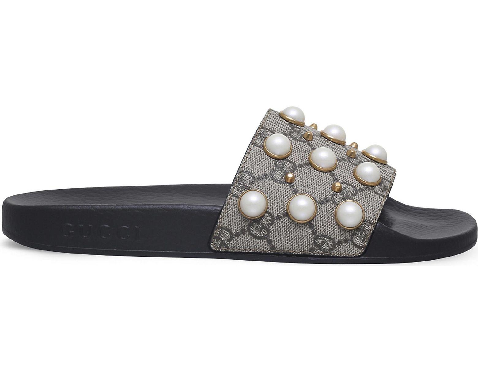 8f856c2a3 Lyst - Gucci Pursuit Pearl-embellished Rubber Slider Sandals