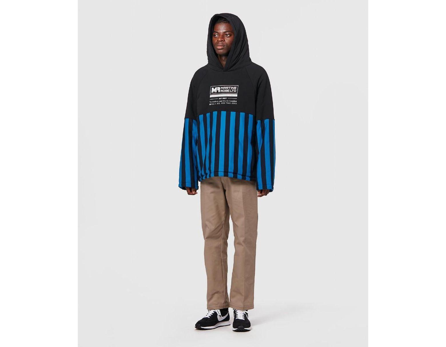 9fa2169e4 Martine Rose Split Wadded Hooded Sweatshirt in Blue for Men - Save 52% -  Lyst