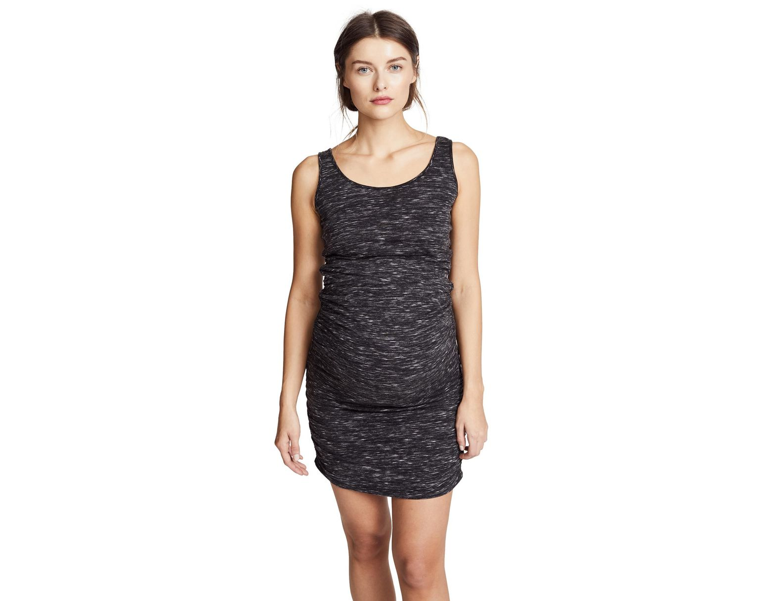 fa335408564fe Ingrid & Isabel Marble Shirred Maternity Tank Dress in Black - Lyst