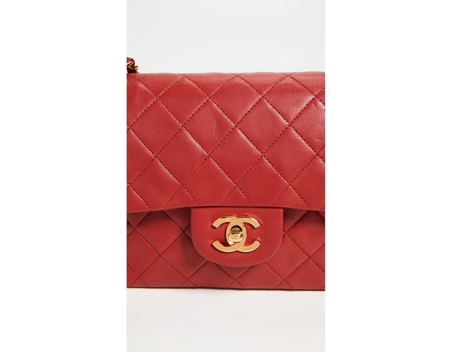 433648ca07f6 What Goes Around Comes Around Chanel Lambskin Classic Flap Bag in Red -  Save 30% - Lyst