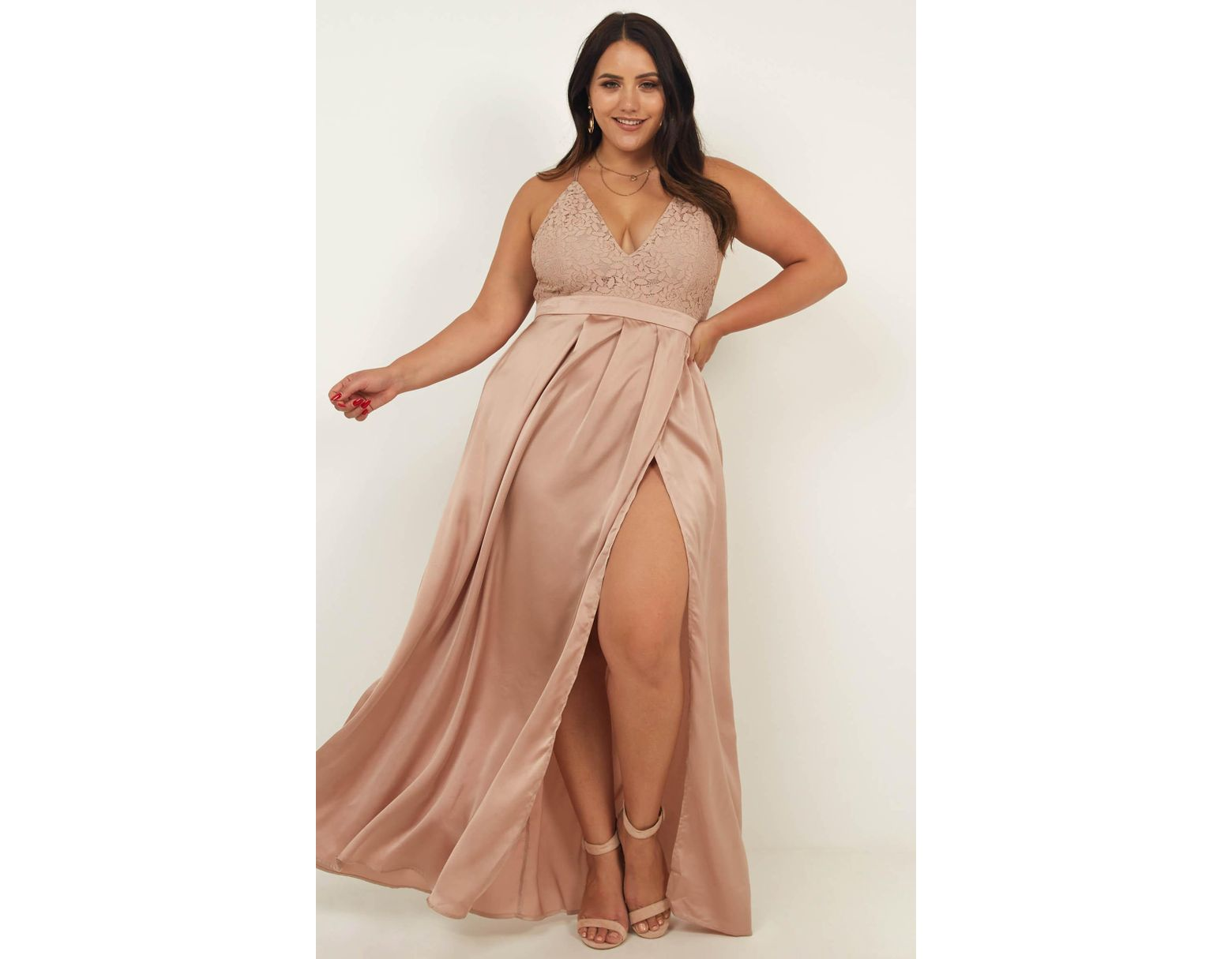 945a1873ad Showpo Inspired Tribe Maxi Dress In Mocha Satin - Lyst