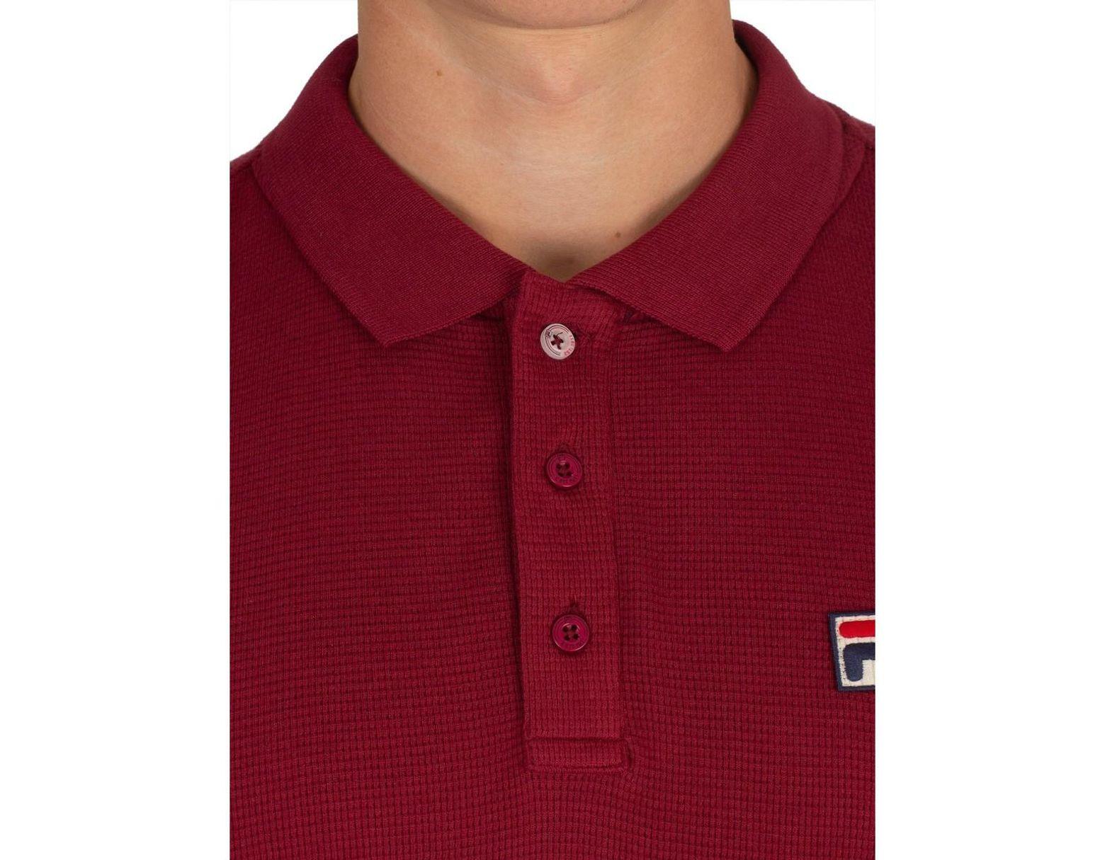 87d70bb0 Fila Men's Bertoni Essential Longsleeved Slim Poloshirt, Red Men's ...