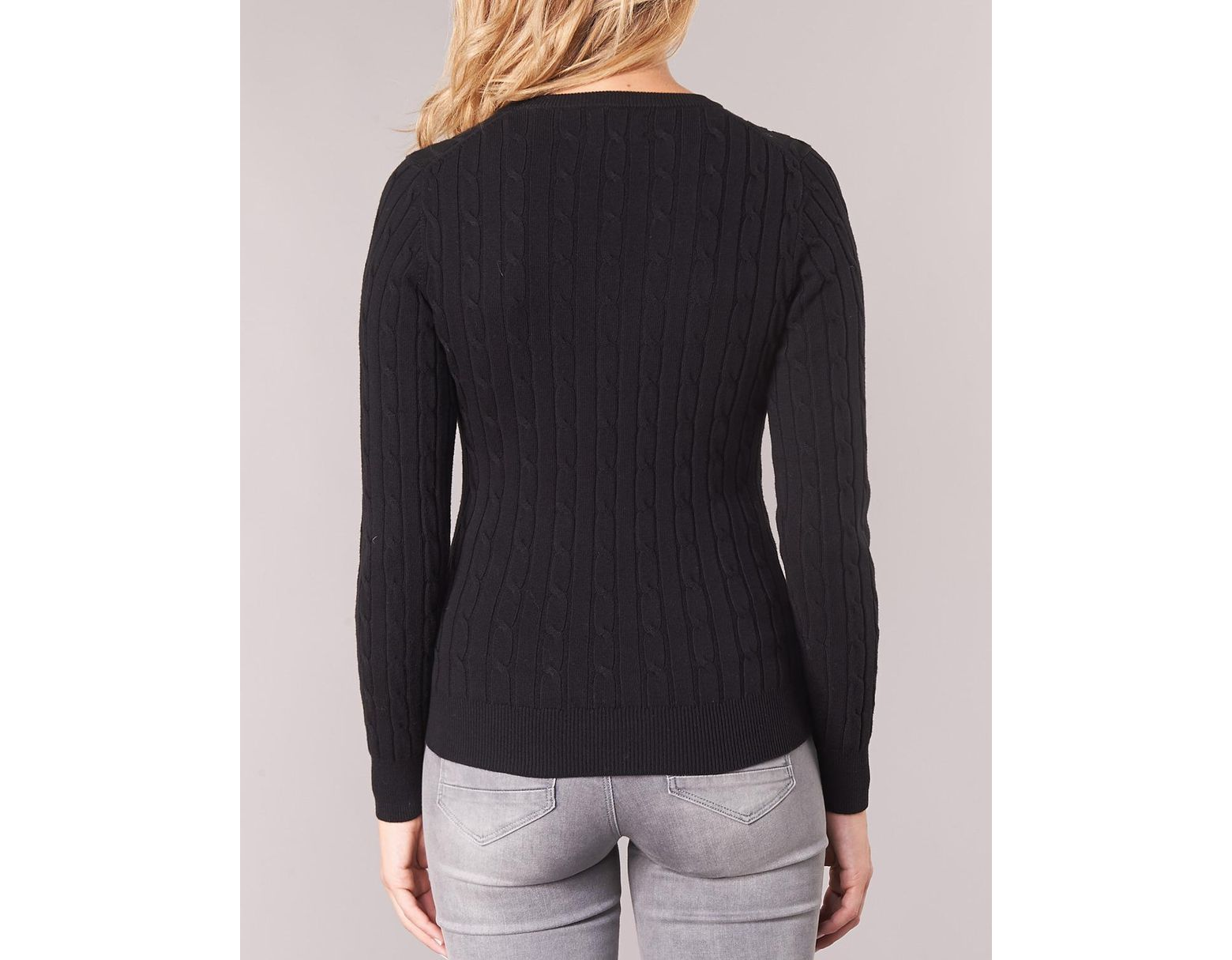 47ccffb0324 GANT Stretch Cotton Cable V Neck Women's Sweater In Black in Black - Lyst