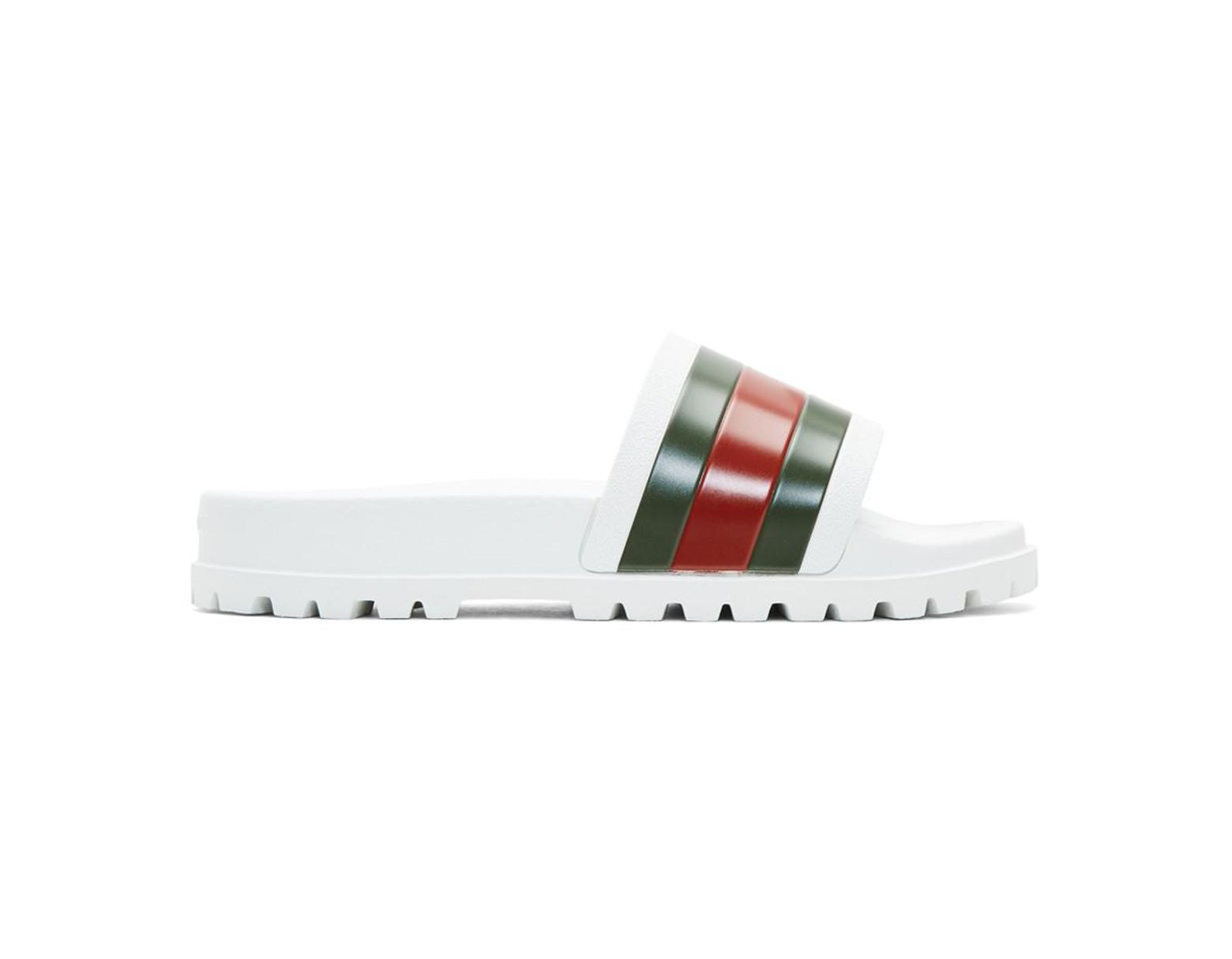 18132df3d Gucci Web Slide Sandal in White for Men - Lyst