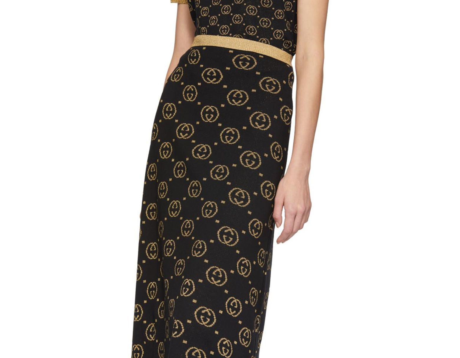 3b9a2eb08 Gucci Black And Gold Wool GG Skirt in Black - Lyst