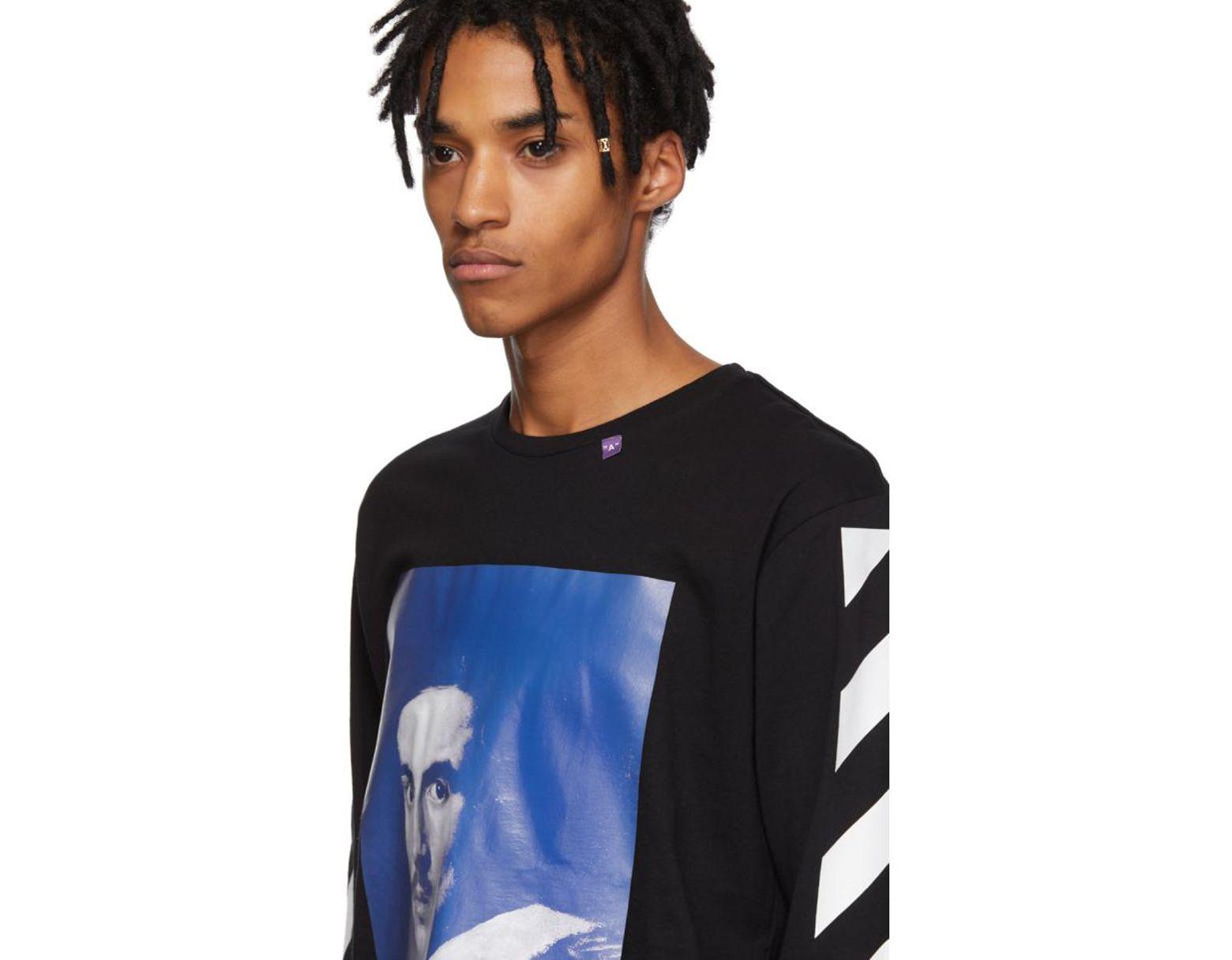 aa5b4fc7 Off-White c/o Virgil Abloh Black Diagonal Bernini Long Sleeve T-shirt in  Black for Men - Save 70% - Lyst