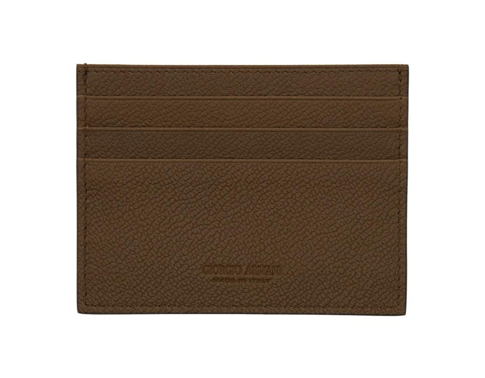 d0e4a3191c Giorgio Armani Brown Leather Card Holder in Brown for Men - Lyst