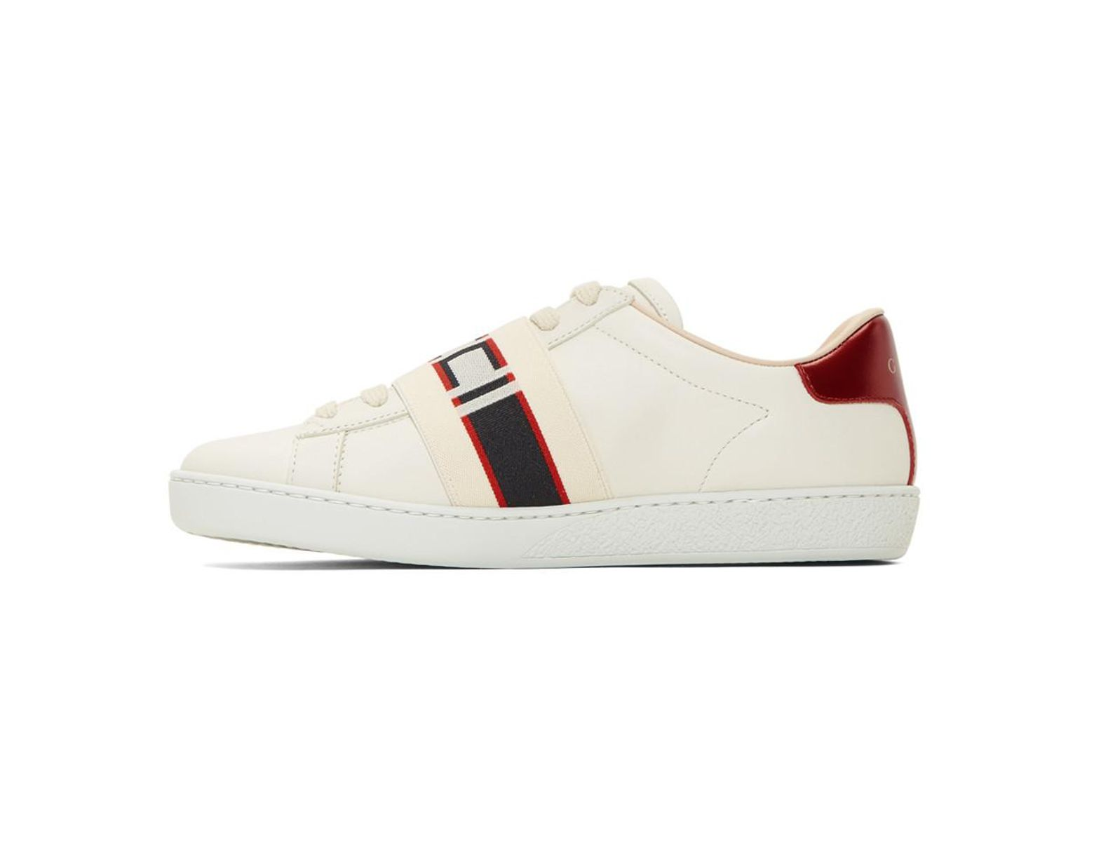 0c4772de940 Lyst - Gucci White Elastic Band New Ace Sneakers in White