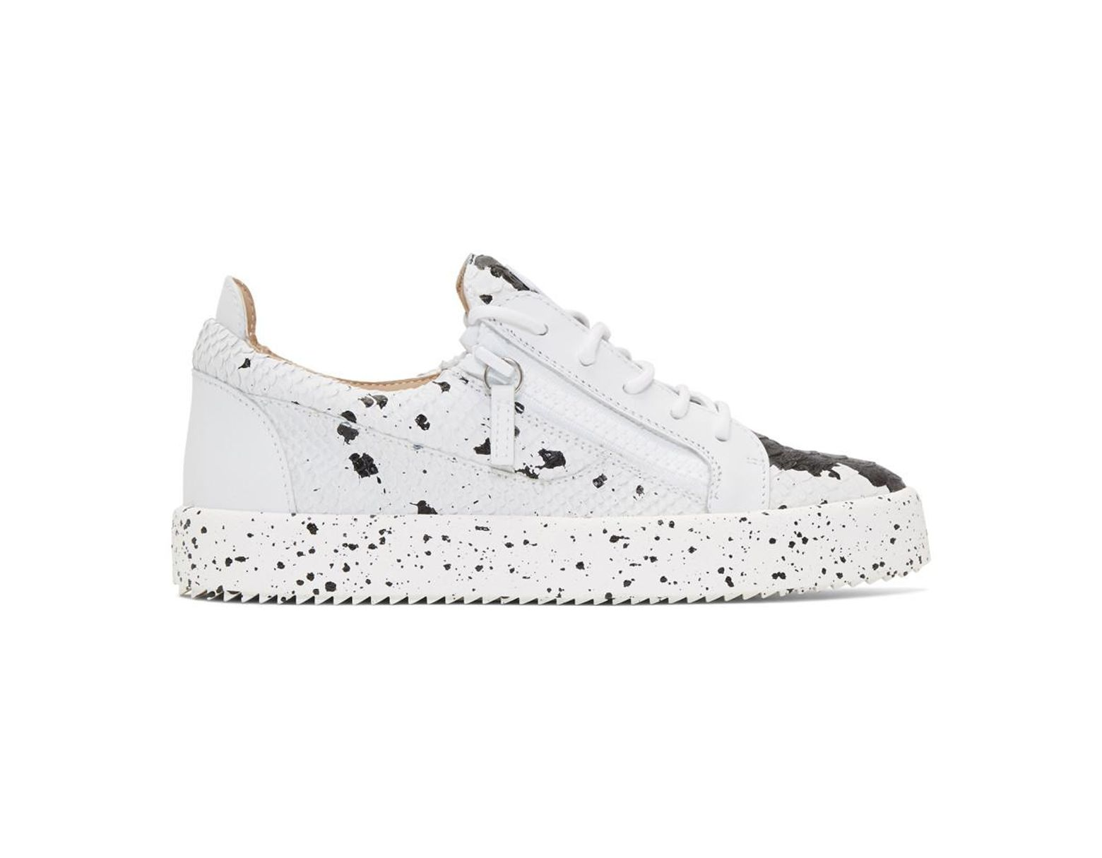 1a5cbf8aaad06 Giuseppe Zanotti White And Black Croc Frankie Sneakers in White for Men -  Save 15% - Lyst
