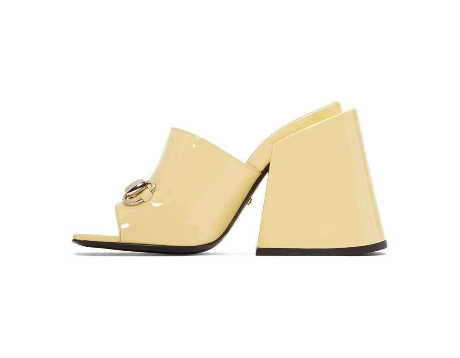 8de630c9424 Lyst - Gucci Yellow Patent Lexi Horsebit Sandals