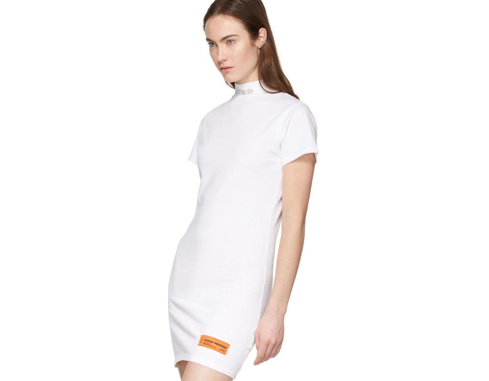 540b4ee16ba3 Heron Preston White Style Mock Neck T-shirt Dress in White - Save 7% - Lyst
