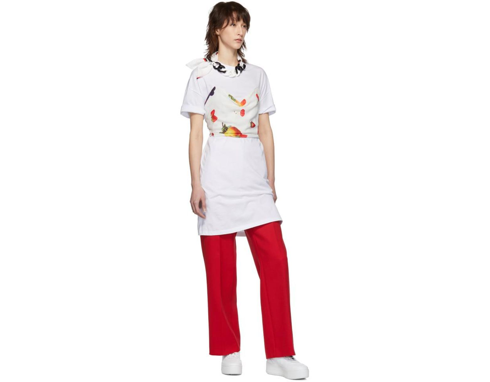 94dab9fd8856 MSGM Ssense Exclusive White Fruit Scarf T-shirt Dress in White - Lyst