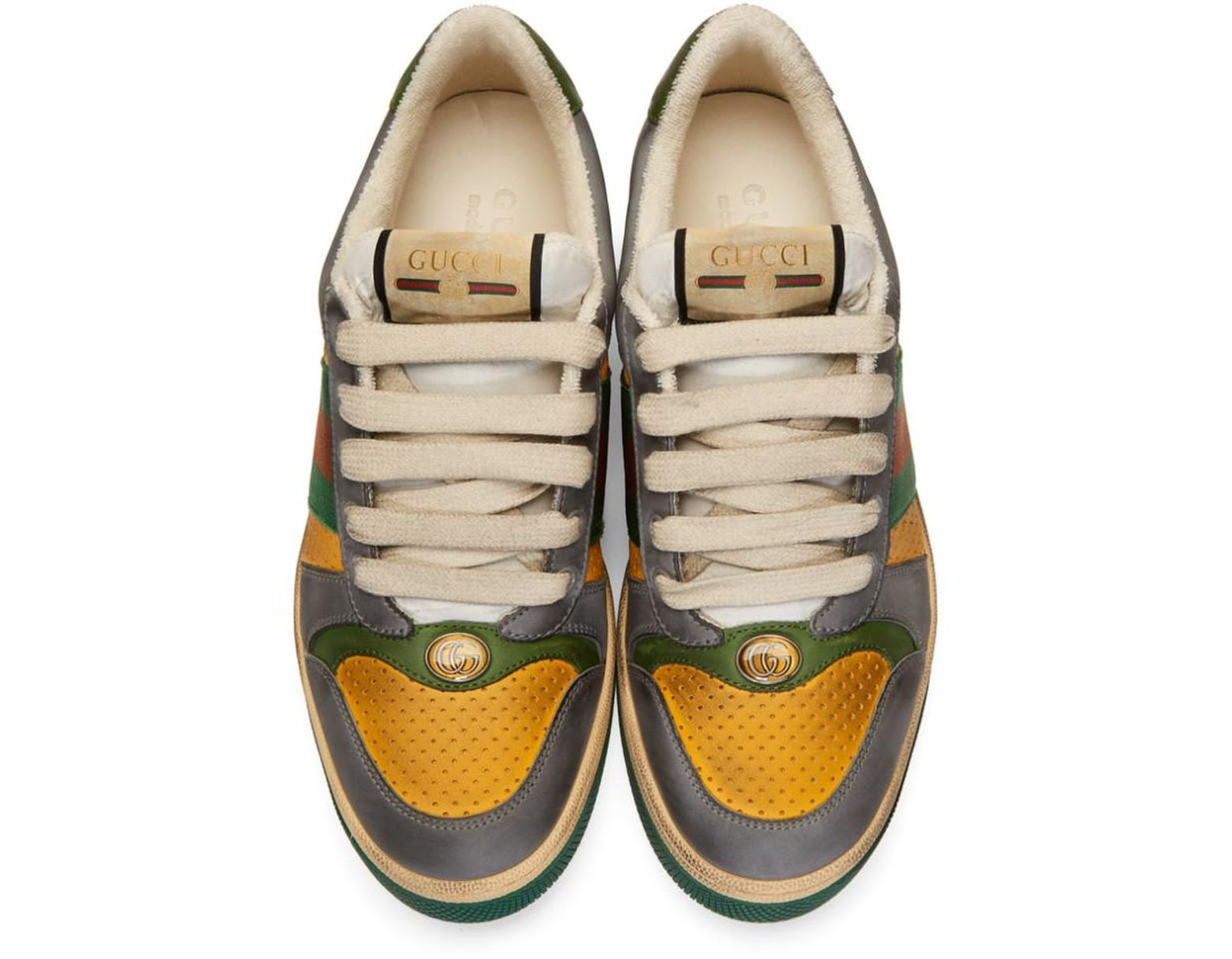 1589936b8 Gucci Yellow And Grey Screener Sneakers in Yellow for Men - Lyst
