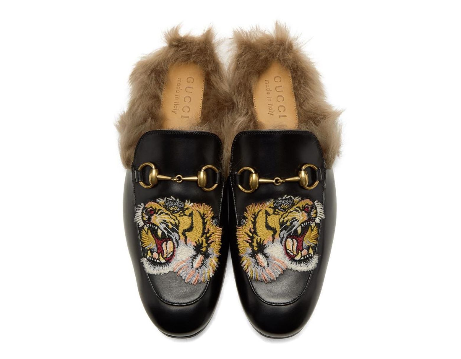1ca1a6022 Gucci Princetown Slipper With Tiger in Black for Men - Save 11% - Lyst