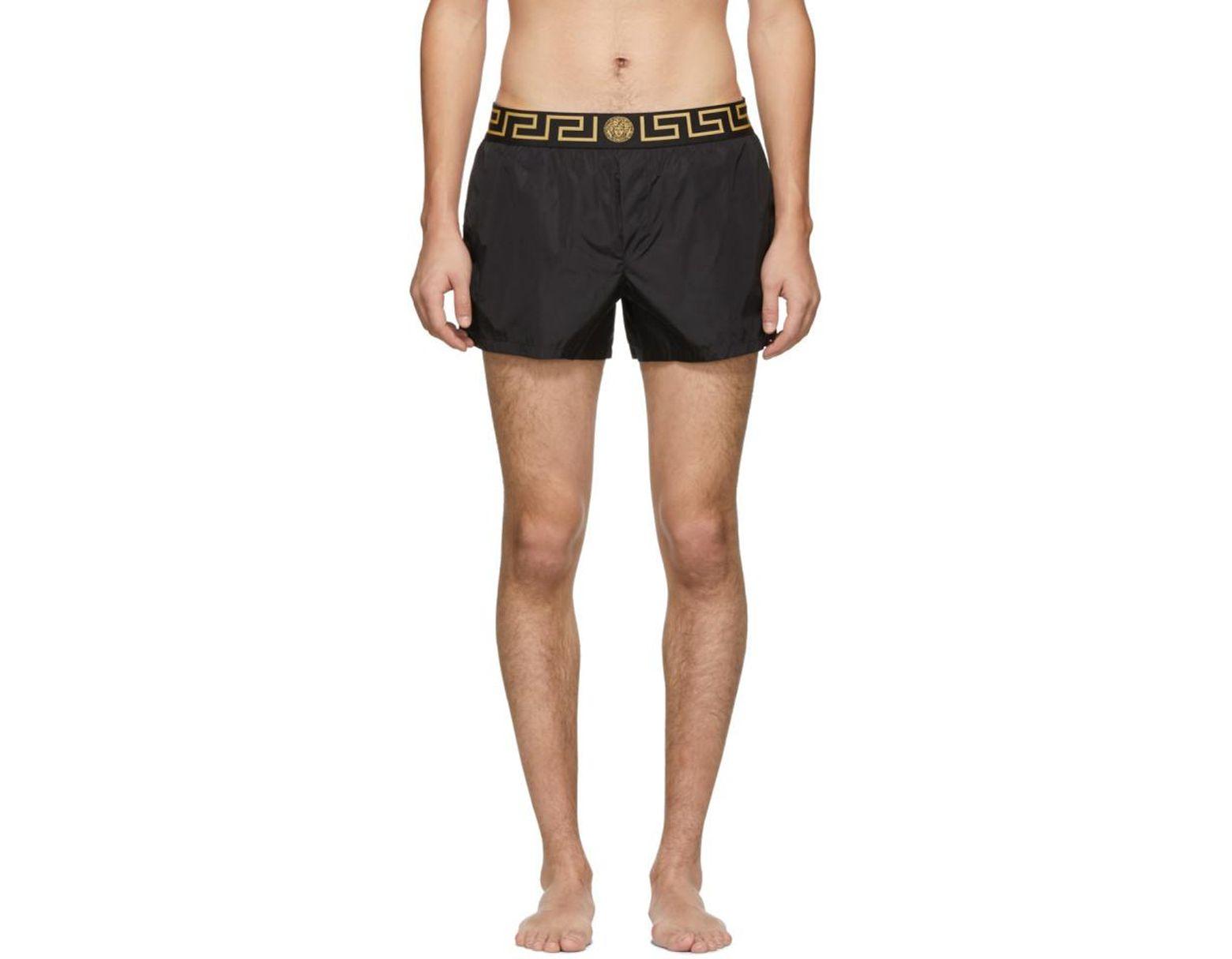 58597e97b665 Versace Black Greca Border Swim Shorts in Black for Men - Lyst