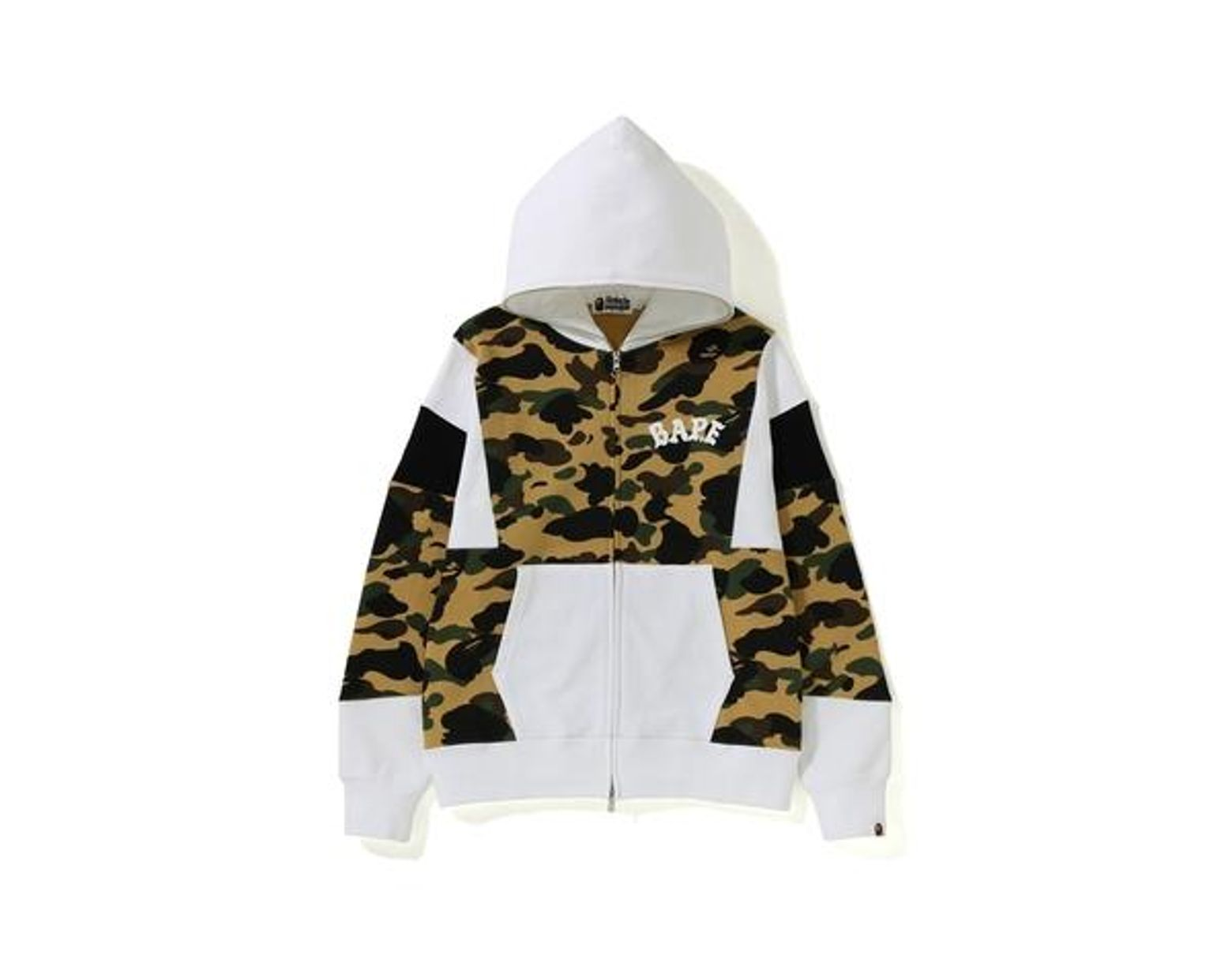 f340547e A Bathing Ape 1st Camo Color Block Full Zip Hoodie Yellow in Yellow for Men  - Lyst