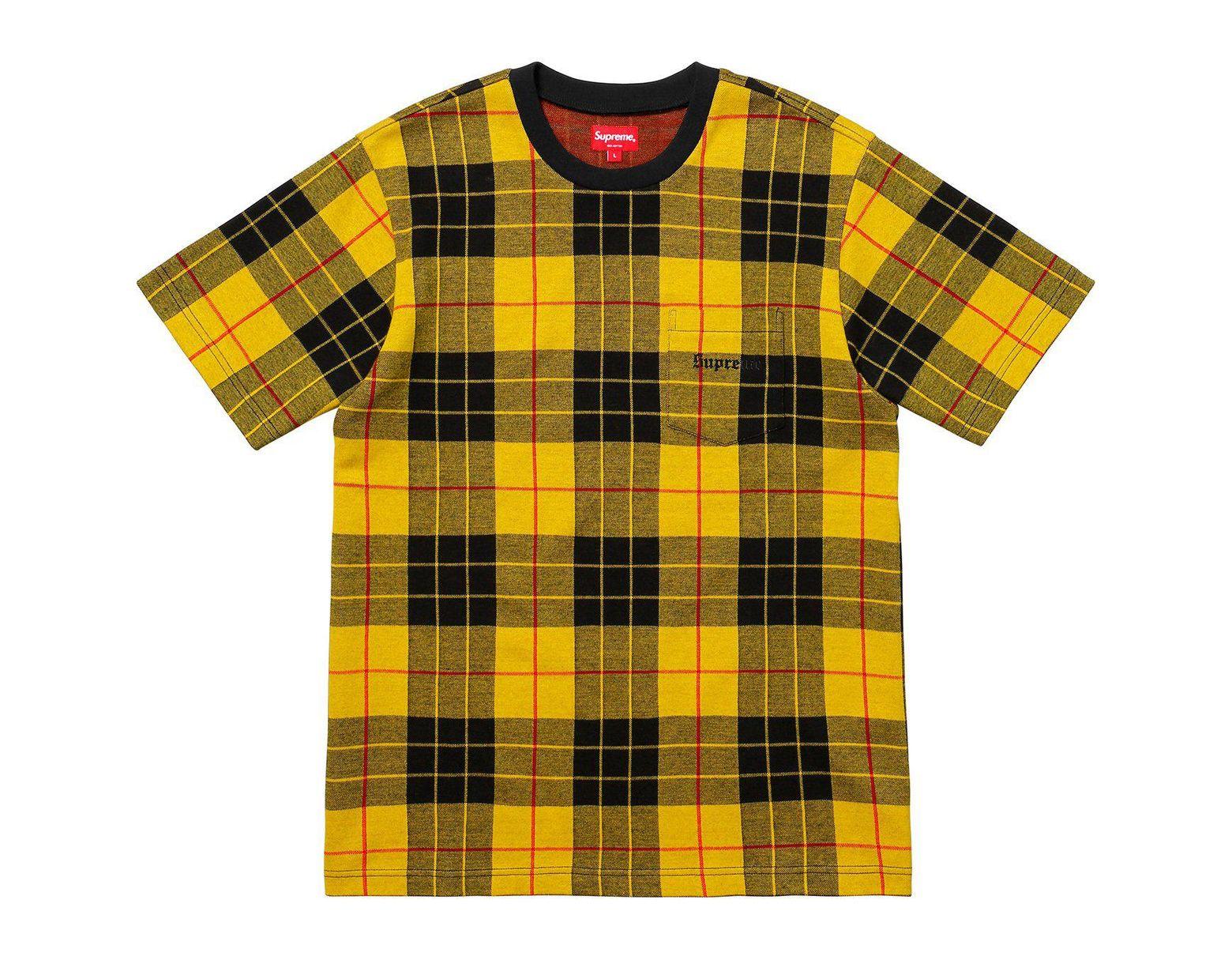 3ec9ddb1cb95 Supreme Jacquard Tartan Plaid Pocket Tee Yellow in Yellow for Men - Lyst