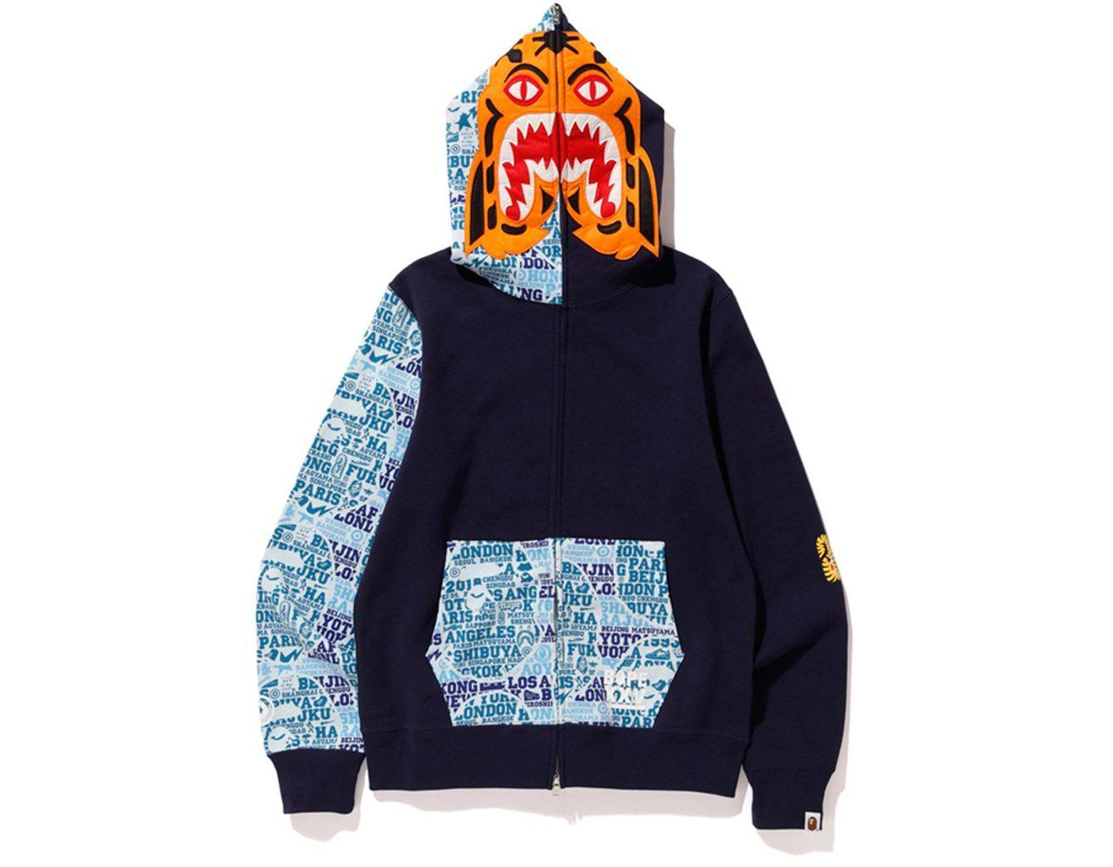 3c9a38264 A Bathing Ape Xxv Cities Camo Tiger Full Zip Hoodie Navy in Blue for Men -  Lyst