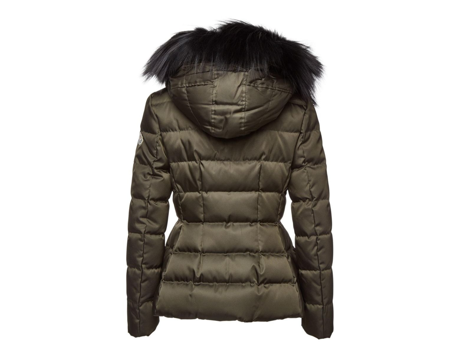 5179a3de2 Moncler Sterne Down Jacket With Fur-trimmed Hood in Green - Lyst