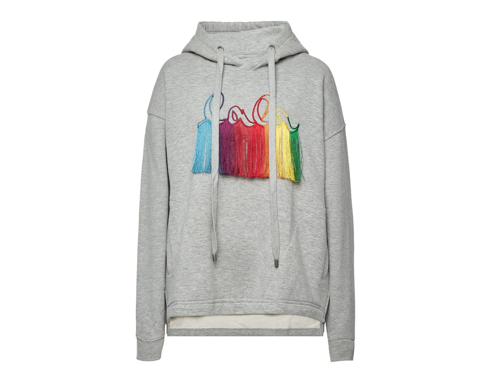 f93a58f043b Lala Berlin Quinn Rainbow Embroidered Cotton Hoody in Gray - Lyst