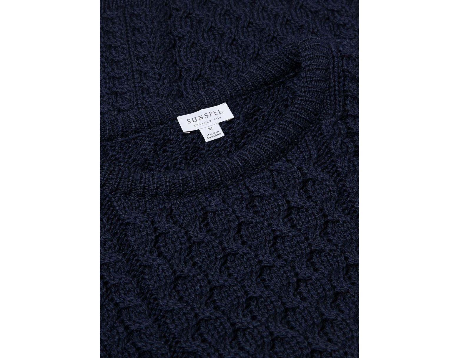 4247de9606ad21 Sunspel Men's Merino Wool Cable Knit Jumper In Navy in Blue for Men - Lyst