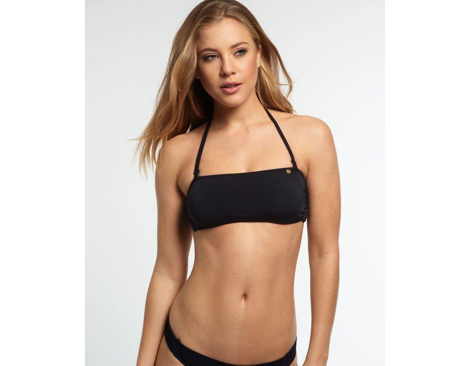 1f64efee9423f Superdry Santorini Bandeau Bikini Top in Black - Save 29% - Lyst