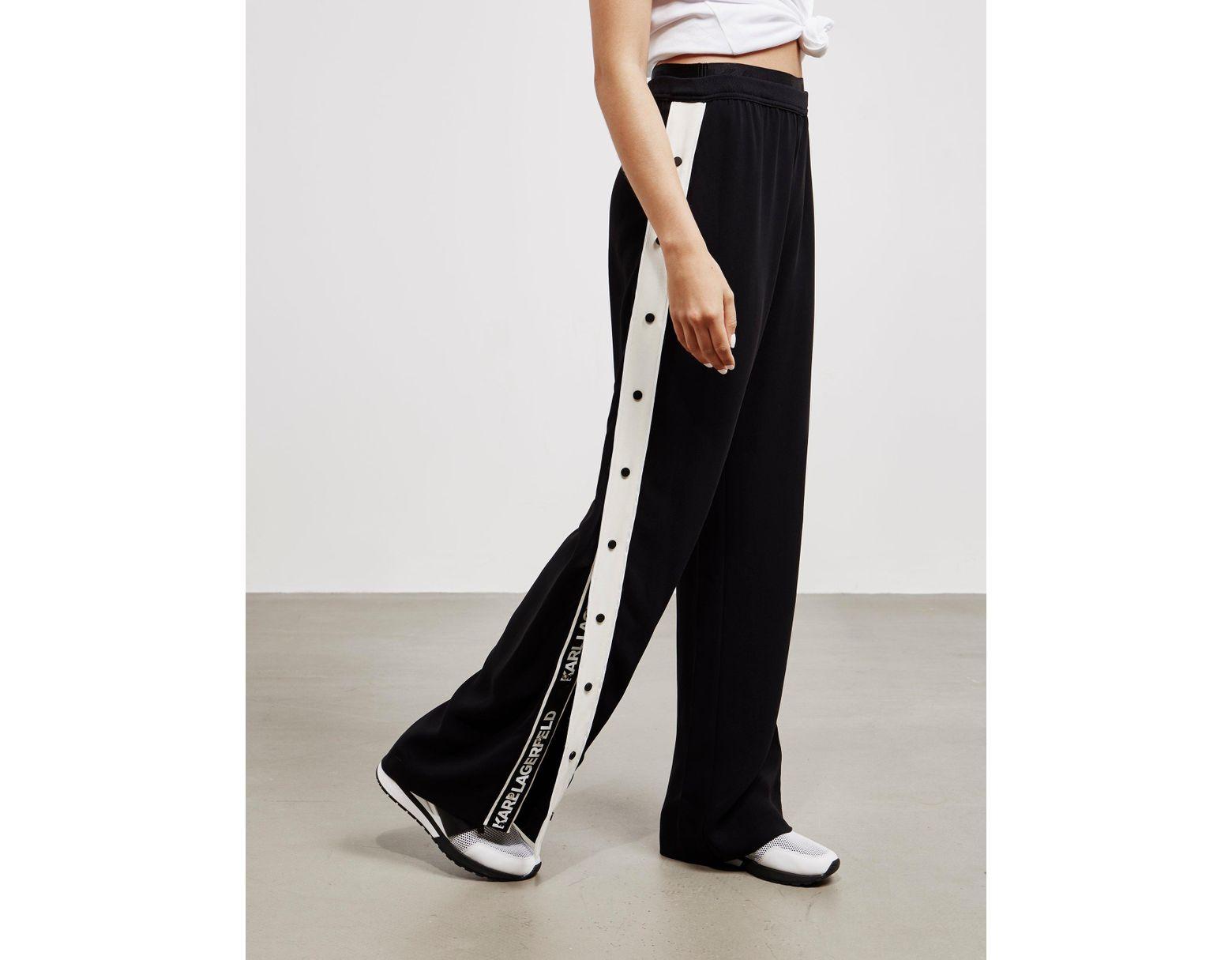 915e3fbd82c394 Karl Lagerfeld Wide Leg Popper Pants Black in Black - Lyst