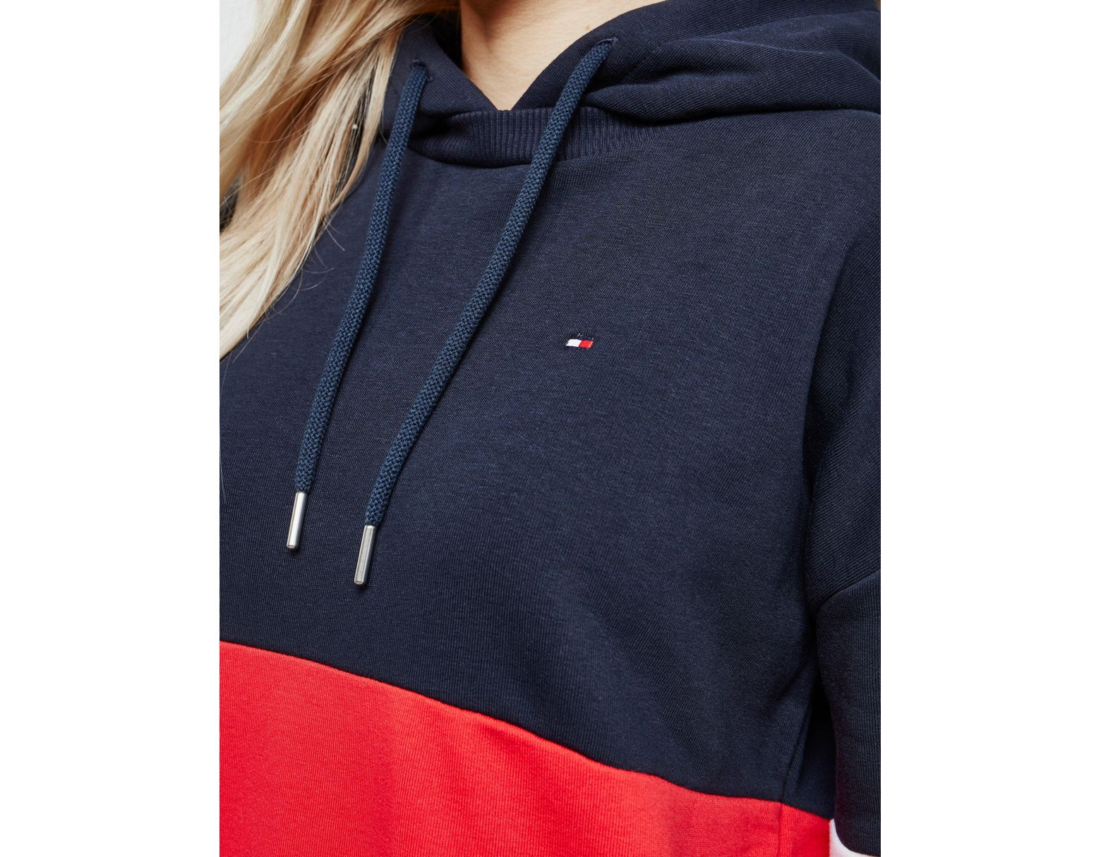 15f1e643 Tommy Hilfiger Talina Colour-blocked Hoodie Navy Blue in Blue - Lyst