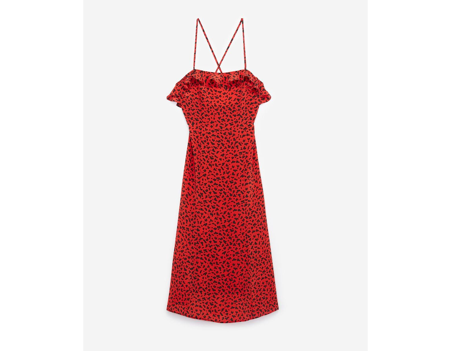 b8e615b1d2 The Kooples Long Red Silk Dress With Leopard Print in Red - Lyst