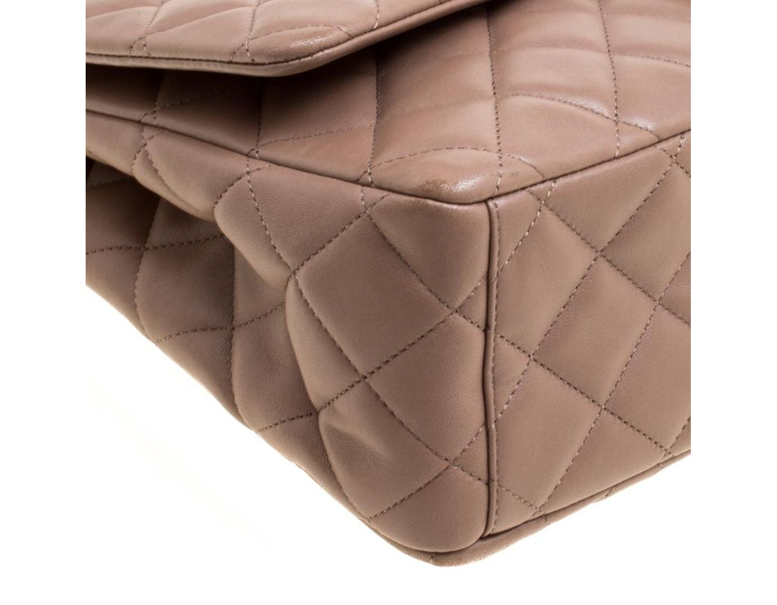 ccb05ec521ef00 Chanel Taupe Quilted Leather Maxi Classic Single Flap Bag in Brown - Save  24% - Lyst