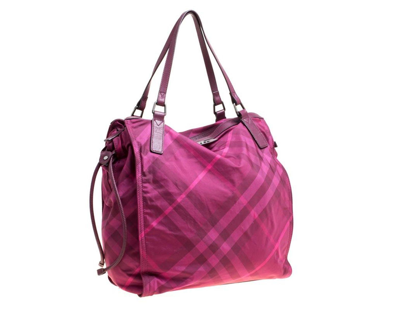 e9c55aaf7a1f Lyst - Burberry Hot Pink Nova Check Nylon Tote in Pink