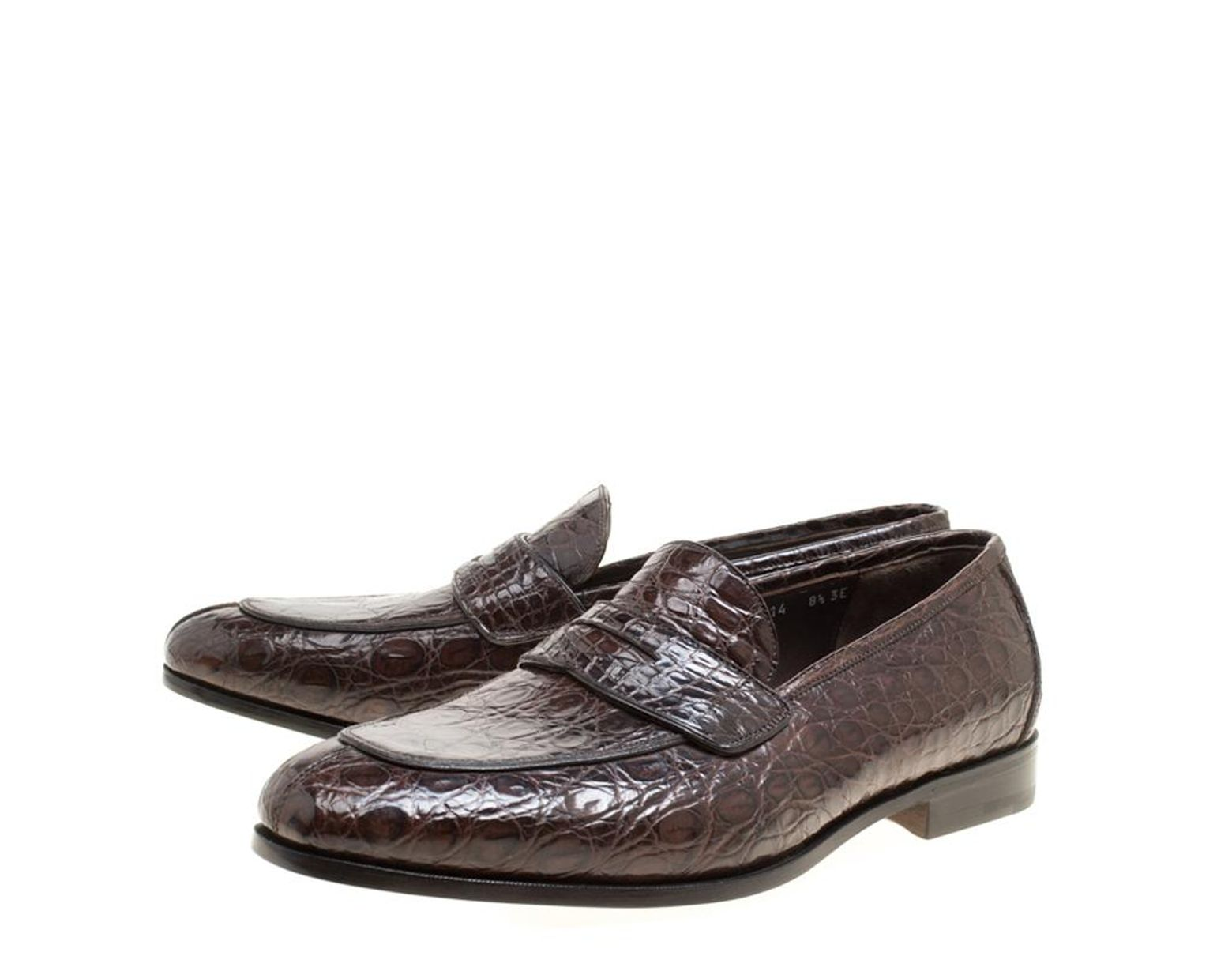 7d0cdbd37071 Lyst - Ferragamo Mocca Crocodile Leather Pablo Penny Loafers Size 42.5 in  Brown for Men - Save 13%