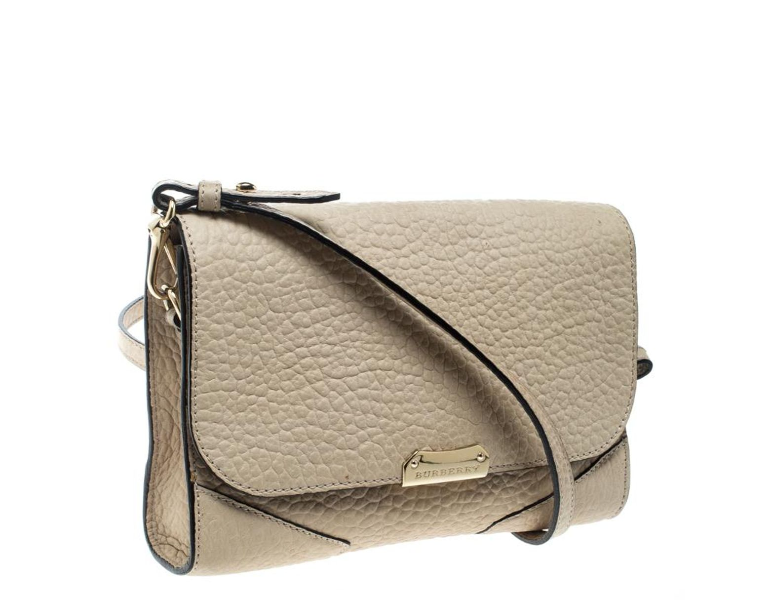 4d45753271e3 Lyst - Burberry Beige Nubuck Leather Small Langley Crossbody Bag in Natural