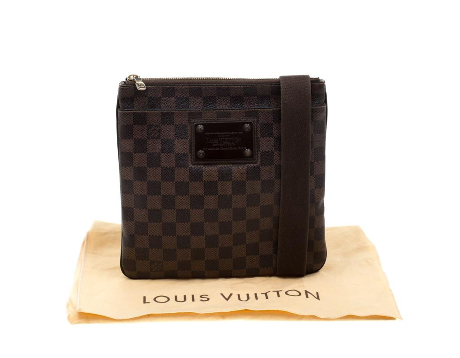 23bd9fb895e4c3 Louis Vuitton Damier Ebene Brooklyn Pochette Plate Bag in Brown for Men -  Lyst