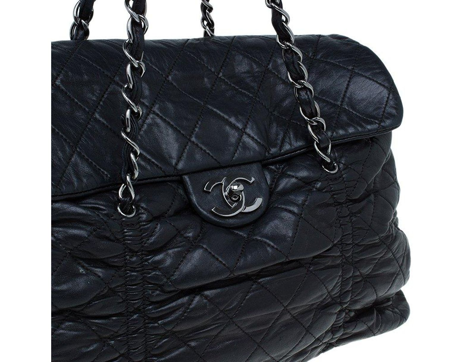 b729773f657a Chanel Black Quilted Leather Sharpei Flap Shoulder Bag in Black - Lyst