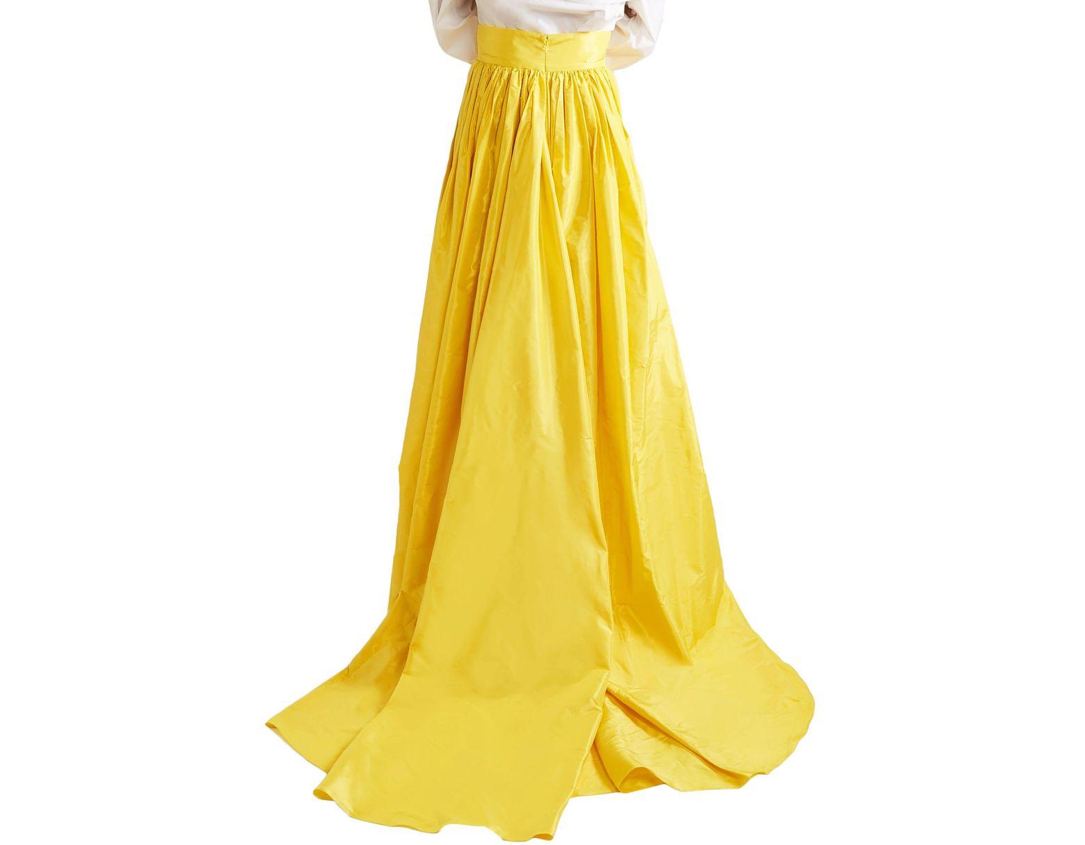 9e54e00db9 Carolina Herrera Flared Pleated Silk-taffeta Maxi Skirt Yellow in Yellow -  Save 32% - Lyst
