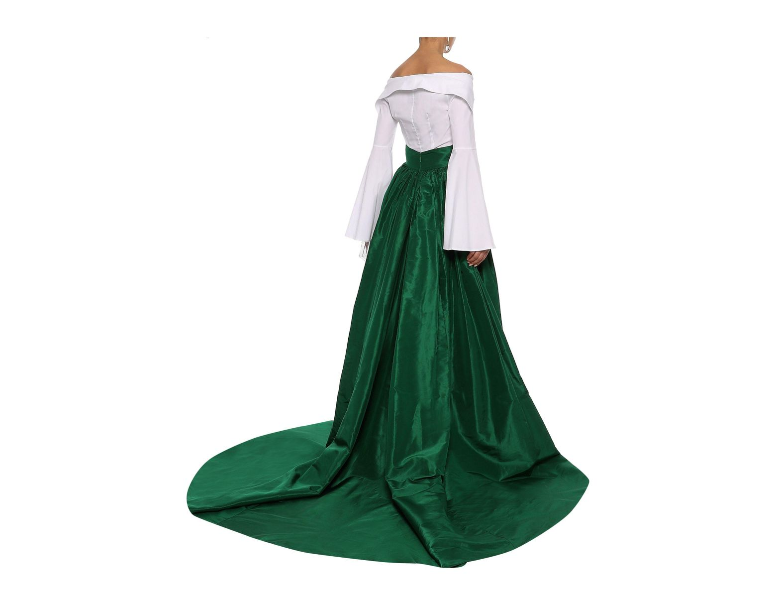 e5956510bd Carolina Herrera Woman Pleated Silk-taffeta Maxi Skirt Emerald in Green -  Lyst
