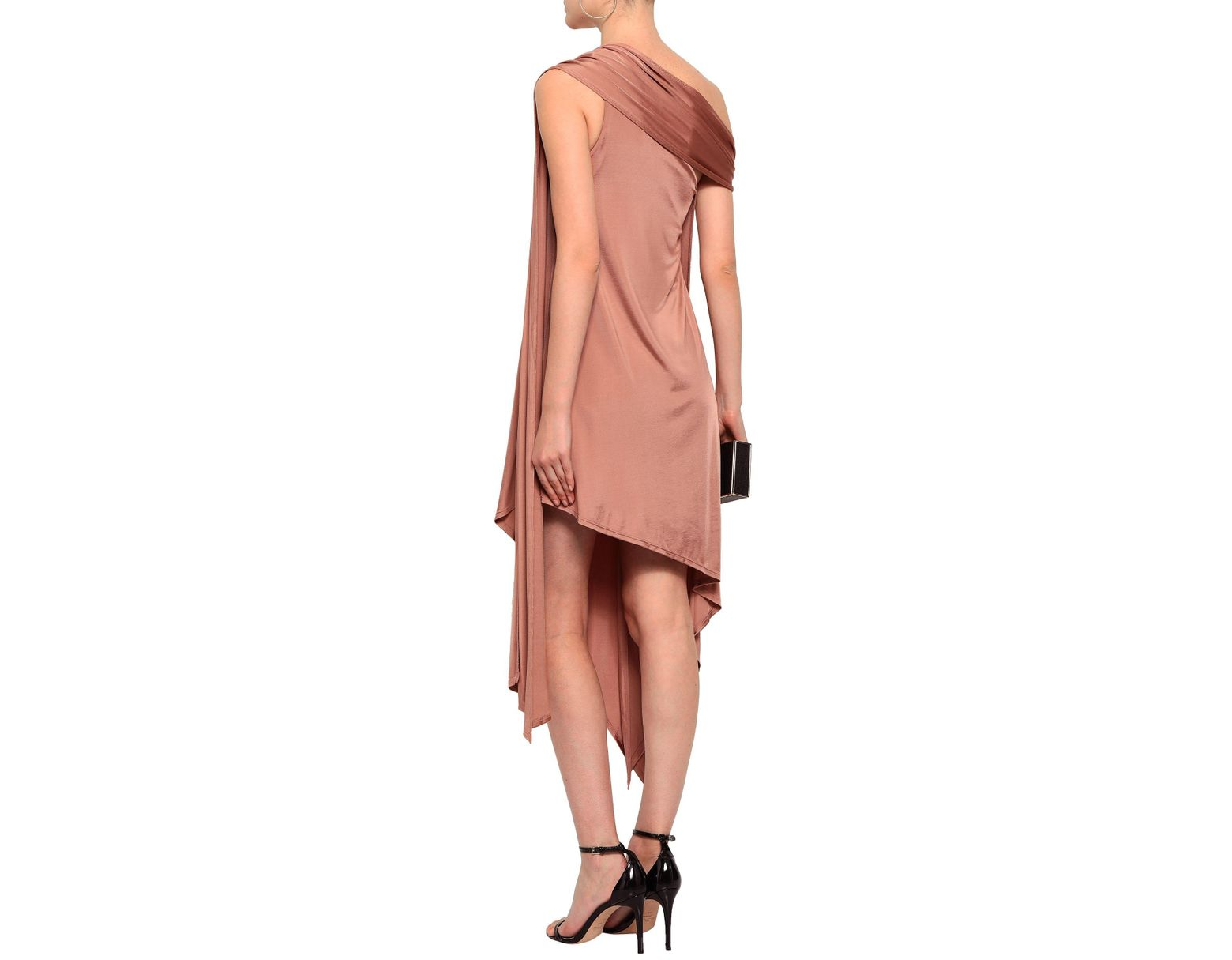 e706b0fd508b Michelle Mason Woman Asymmetric One-shoulder Satin-jersey Mini Dress  Antique Rose in Pink - Lyst