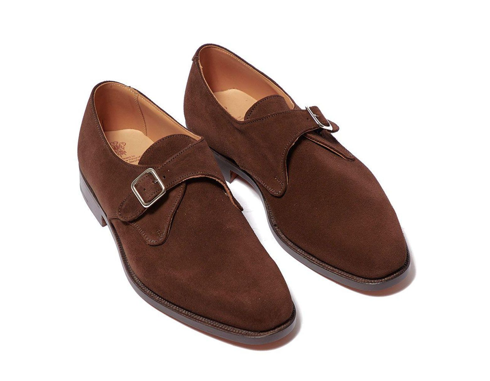 1cf6edd5efe3f0 Tricker's Mayfair Chocolate Repello Suede Single Monk Strap Shoes in Brown  for Men - Lyst