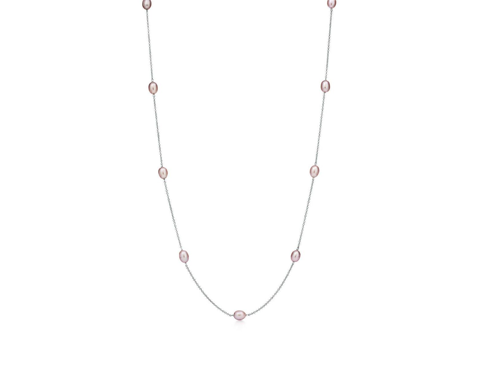 a1226563d Tiffany & Co. Elsa Peretti® Pearls By The Yardtm Necklace In Sterling Silver  With Pink Pearls in Metallic - Lyst