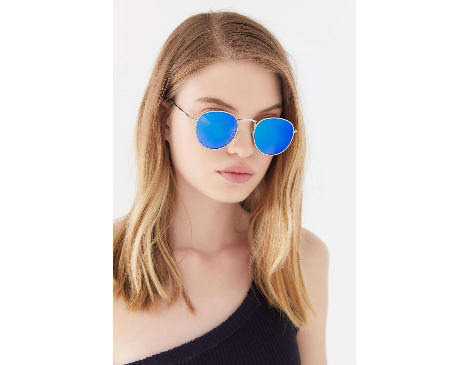 1577bcc95c2f Urban Outfitters Phoenix Metal Round Sunglasses in Blue - Lyst