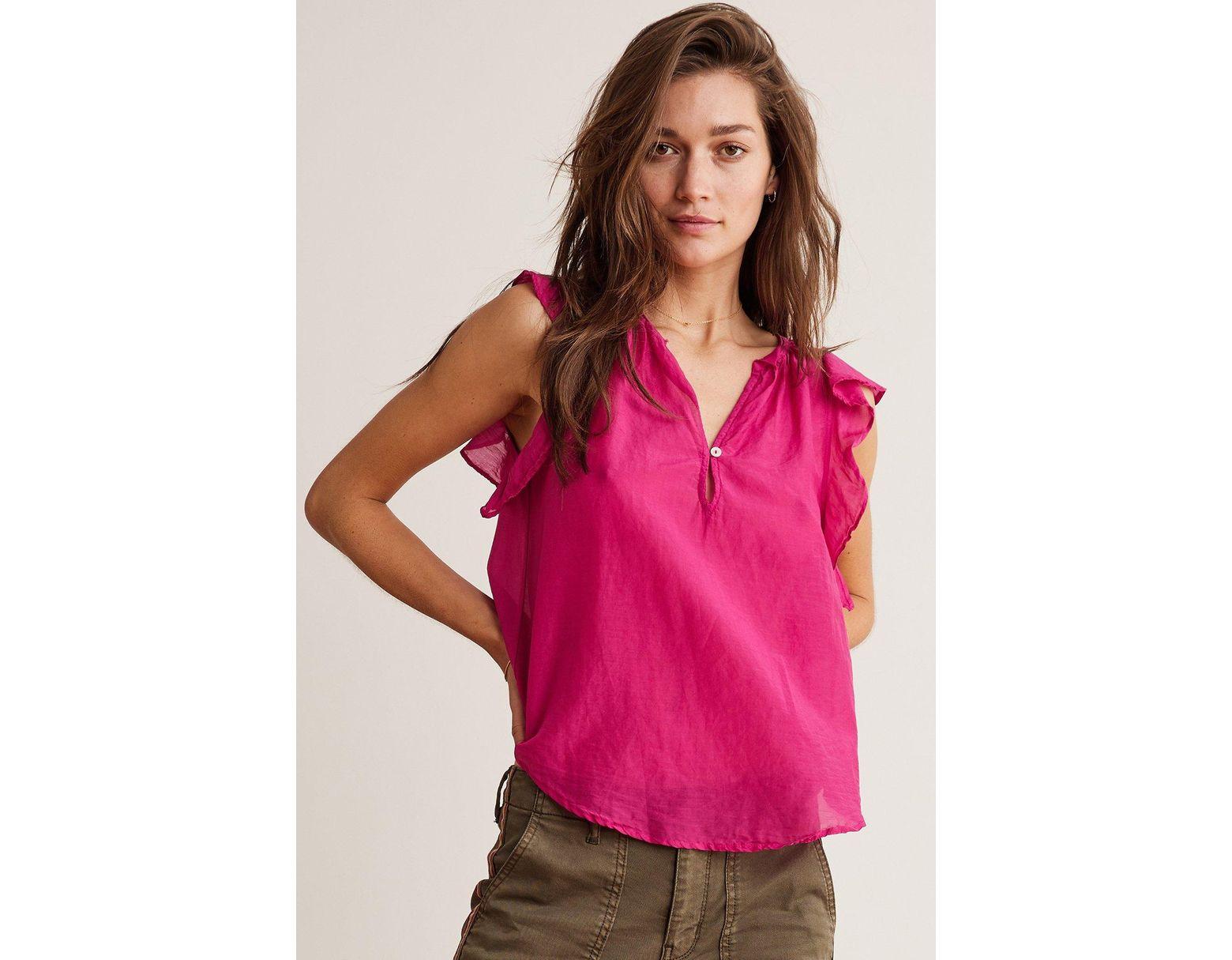 fe6cf00a659142 Velvet By Graham & Spencer Jayne Silk Cotton Voile Ruffle Blouse in Pink -  Lyst